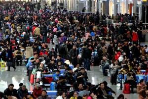 Nouvel An chinois foule de voyageurs